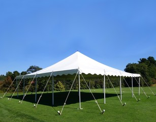 white events tent on a green lawn