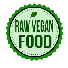 Raw vegan food sticker or stamp