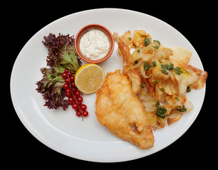 Fish and chips in plate, isolated