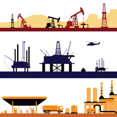 Set of Oil and Gas Energy Industry Landscape vectors