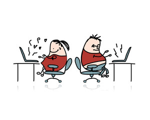 Peoples working at office, cartoon for your design