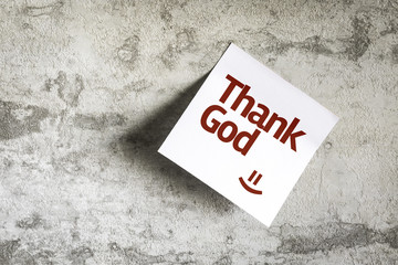 Thank God on Paper Note on texture background