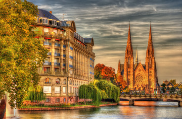 Saint Paul church and ESCA building in Strasbourg - Alsace, Fran