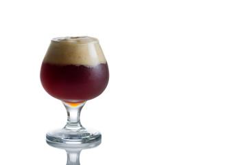 Glass Goblet filled with fresh Dark Beer on White