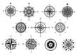 Nautical wind rose and compass icons set - 70816952