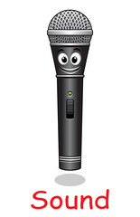 Cartoon microphone character