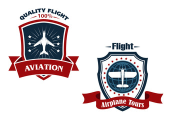 Airplane tours and aviation icons