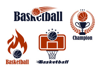 Basketball sport team emblems and symbols
