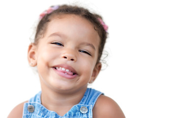 Multiracial girl laughing isolated on white