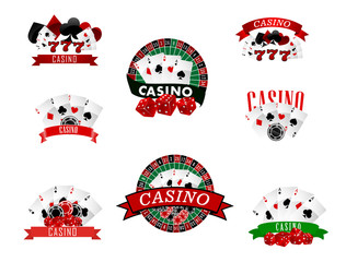 Casino and gambling badges, icons or emblems