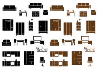 Furniture flat icons set