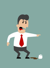 Angry boss or businessman yelling and pointing