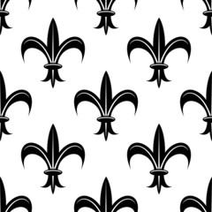 Seamless fleur-de-lis royal black pattern