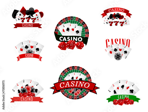 Casino and gambling badges, icons or emblems - 70816975