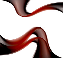 Dark red abstract curves on the white background