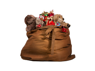 Santa Claus gift bag full of toys and gifts