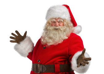 Santa Claus with a welcome gesture