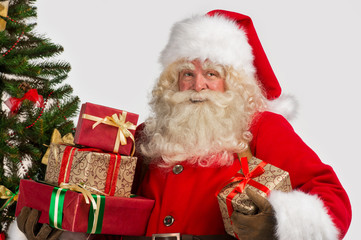 Santa Claus with giftboxes
