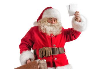 Santa Claus with old leather suitcase