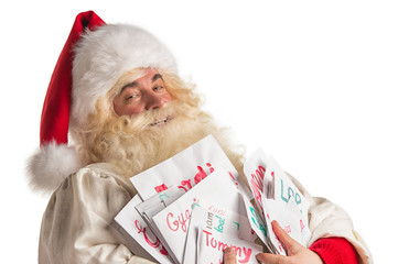 Santa Claus holding heap of letters