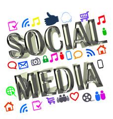 Shiny digital social media words 3D image design