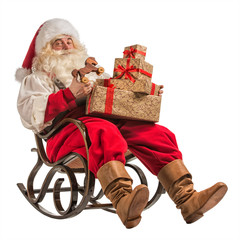 Santa Claus sitting in rocking chair