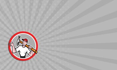 Business card Carpenter Builder Hammer Circle Cartoon