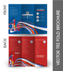 Tri-fold Brochure Design Element. Vector Illustration