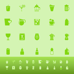 Variety drink color icons on green background