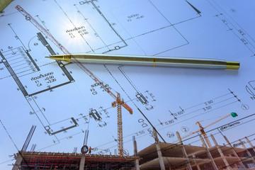 Construction site with arcchitecture blueprint