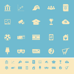 General online color icons on light blue background