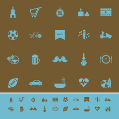 Friday and weekend color icons on brown background