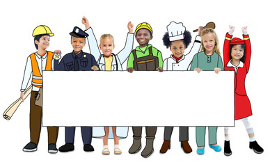 Group of Children in Dreams Job Uniform Holding Banner with Copy