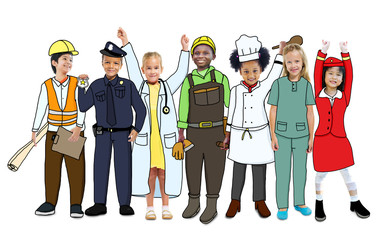Group of Children in Dream Job Uniforms