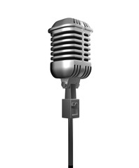 silver metal microphone isolate on white background with clippin