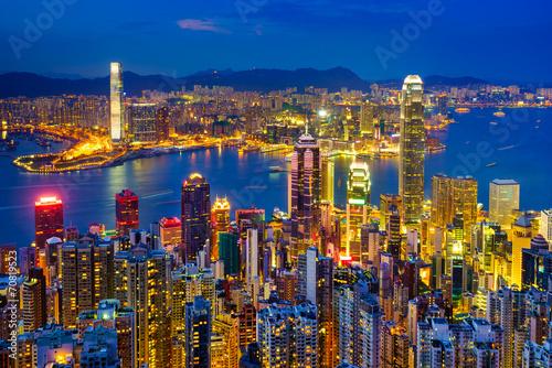 Fotobehang China Hong Kong skyline at night, China