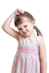 kid girl having bad mood isolated on white background
