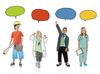 Children in Dreams Job with Speech Bubbles