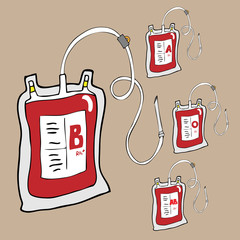 Blood bags for donation cartoon