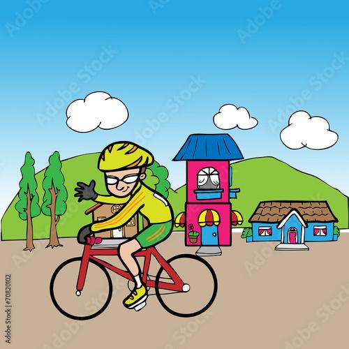 Bicycle man in village