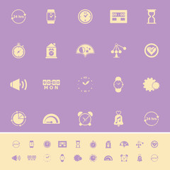 Time related color icons on violet background