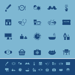 Health behavior color icons on blue background