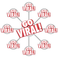 Go Viral Spreading Internet Marketing Message 3d Words Grid
