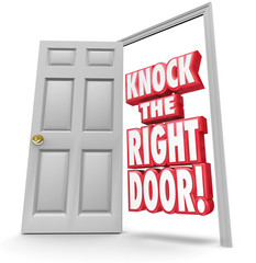 Knock the Right Door 3d Words Find Search Best Customers Solutio