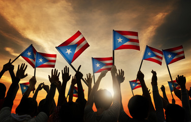 People Waving Flag of Puerto Rico