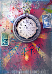 Graffiti and patchwork background with clock series