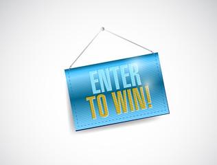 enter to win hanging banner illustration design