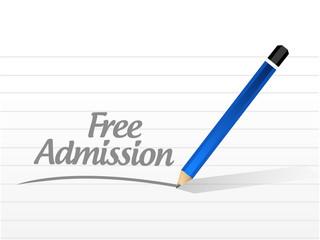 free admission sign message illustration design
