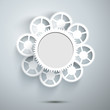 White gears on the grey background, vector illustration