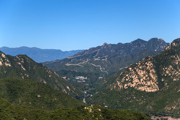 Mountain landscape with a view of the Great Wall of China